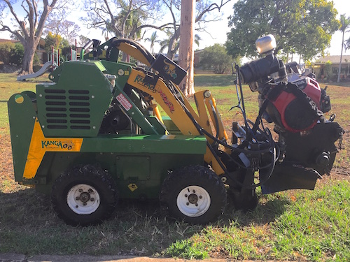 kanga loader with stump grinder attachment